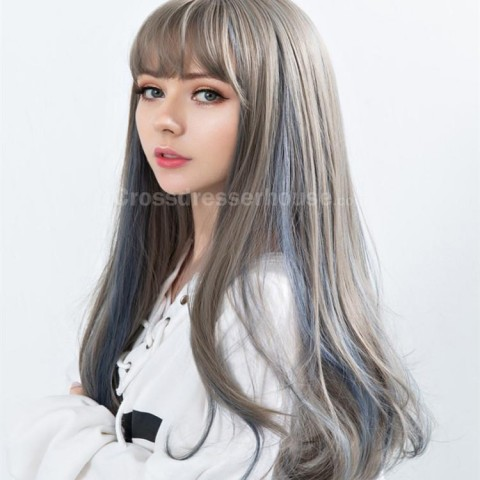 Recommended product Long wig with fringe Emulational hair Crossdresser wig Cosplay wig 2 colors to pick