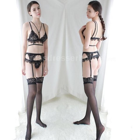Seductive Bra Panty Garter Set with Stocking Transparent Lingerie Women Inexpensive