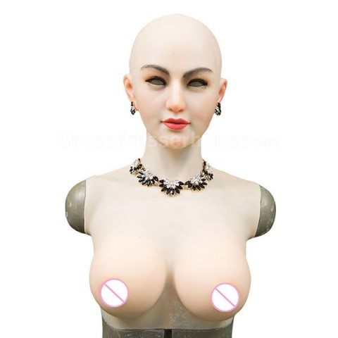 Crossdresser mask with fake breasts in silicone Transgender female mask crossdressing