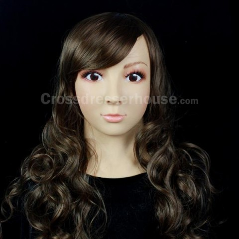 Realistic female mask in silicone for crossdressing Full head face mask of woman