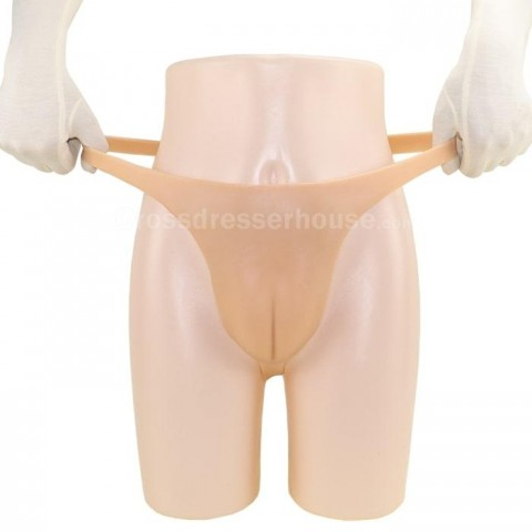 T-back series8 Whole Silicone Pant for Crossdresser and Conceal Underwear Hiding Silicone Thong Shorts  0.2-0.5cm thick Fake vagina
