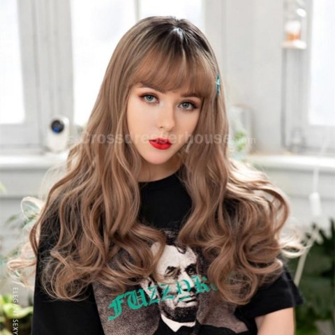 Long curly wig 3 colors to pick Hairpiece with fringe Crossdresser wig Recommended goods