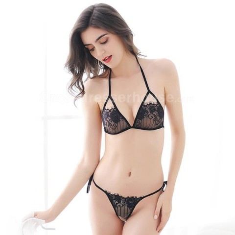 Transparent underwear including bra and G string Revealing lingerie on sale