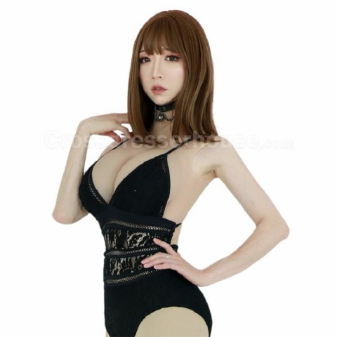 F cup Fake breast in lightweight and comfortable silicone Crossdresser breast high neck and sleeveless