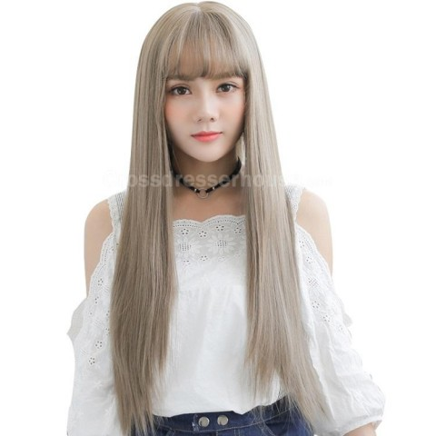 HOT SALES Long wig with fringe inexpensive hairpiece Straight periwig about 68cm