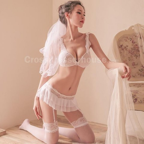 Bra Garter Panty Set including Thigh High Stocking Sexy lingerie inexpensive