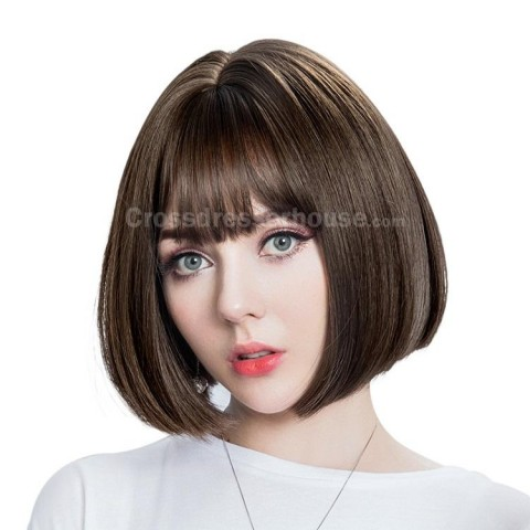 HOT SALES Short straight wig with fringe Cheap hairpiece Periwig about 30cm