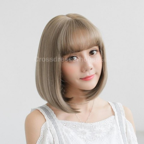 HOT SALES Short wig with fringe Cheap hairpiece straight periwig about 35cm