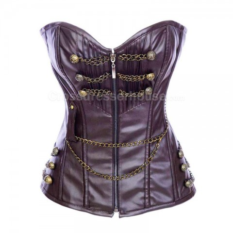 Leather corset overbust decorated with chain and zipper closure in front Retro and simple corset for waist reduction