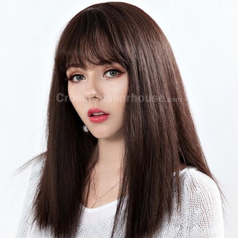 New Arrivals Long wig Straight hairpiece with fringe Cheap wig at sale price