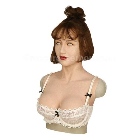 Realistic silicone mask transgender with artificial boobs Crossdressing items on sale