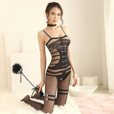 Crotchless transparent bodystocking sleeveless Open crotch bodystocking ON SALE