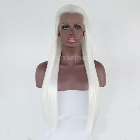 New product 70cm Straight hairpiece Long wig Cosplay wig White periwig