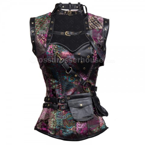 Special corset set of 3 pieces decorated with buckles Sexy printed female corset with zipper closure 9 sizes available