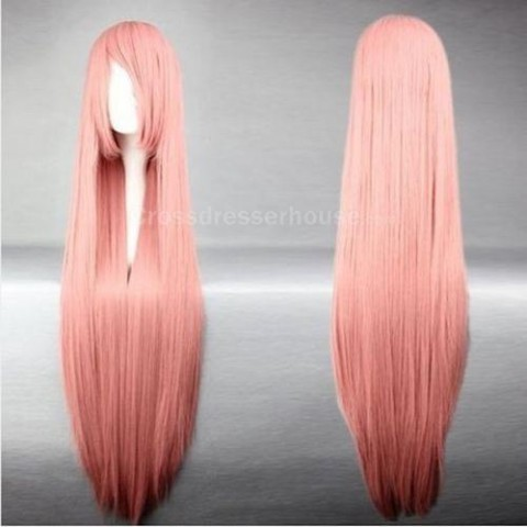 100cm  Long wig Straight hairpiece Cosplay wig Transvestite wig Cheap periwig